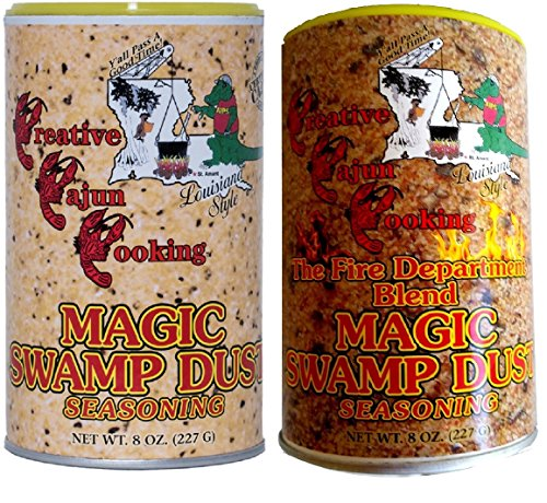 Magic Swamp Dust Cajun Seasoning Bundle 2 Pack - 1 each of Original Magic Swamp Dust and Magic Swamp Dust Fire Department Blend Seasonings (8 Ounces each)