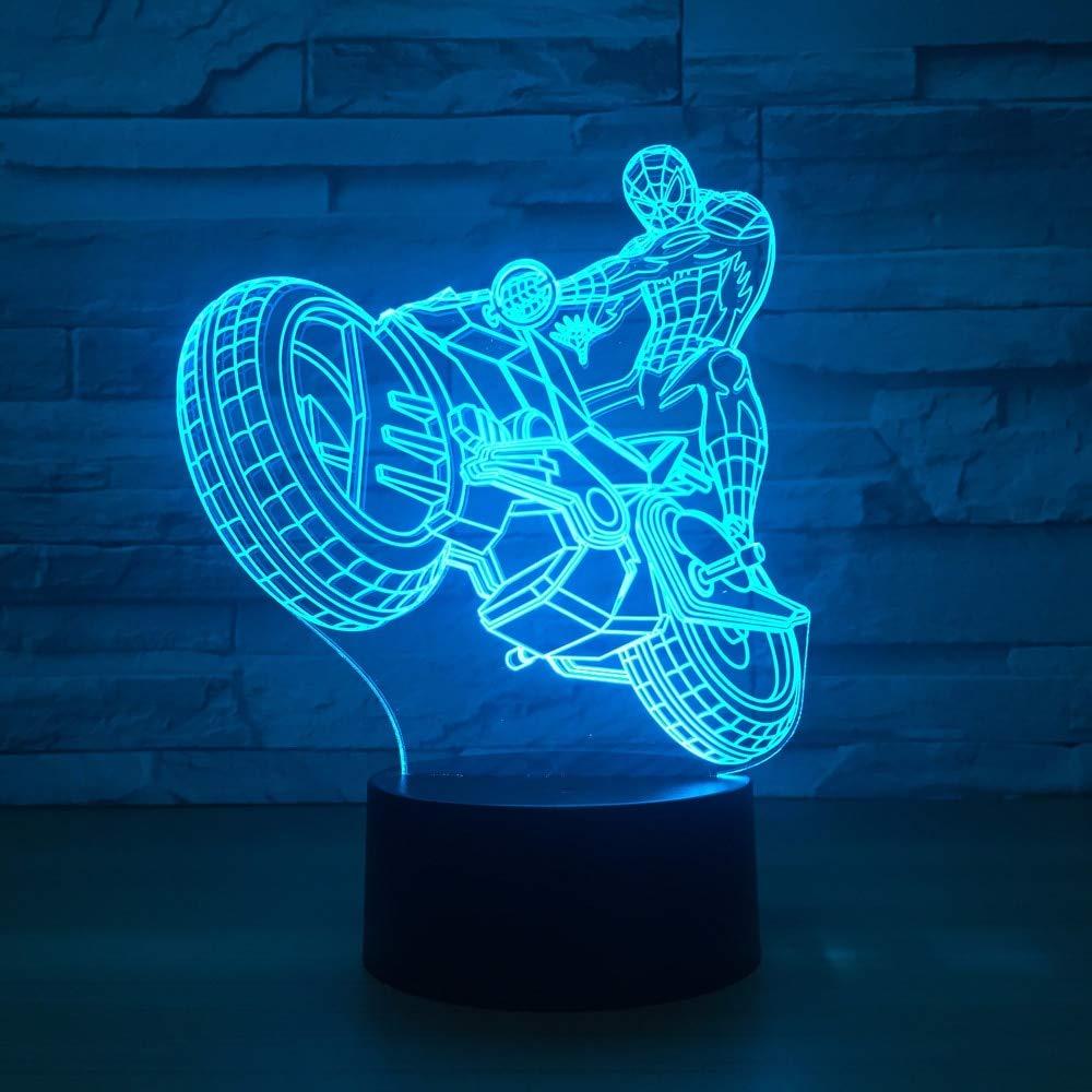 Kreative Spider Man Fahrt Motorrad 3D Lampe LED 3D Nachtlicht USB 7 Farbwechsel Nachtlicht Touch Schreibtisch Tischleuchte Wohnkultur