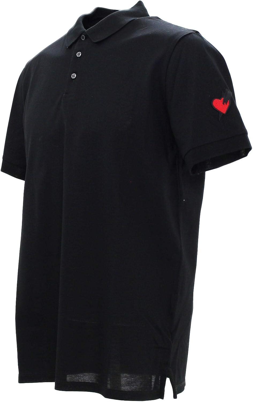 Neil Barrett Punked Heart Logo Black Polo Black