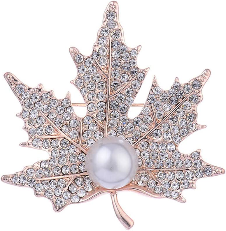 Ogquaton Feuille d/érable en cristal broches broches avec perle cadeau de mariage de no/ël pour les femmes fille robuste et rentable