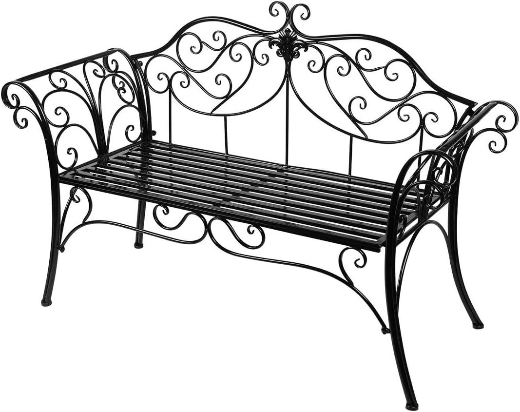 Antique Metal Garden Bench Chair 2 Seater for Garden, Yard, Patio, Porch and Sunroom (Black)
