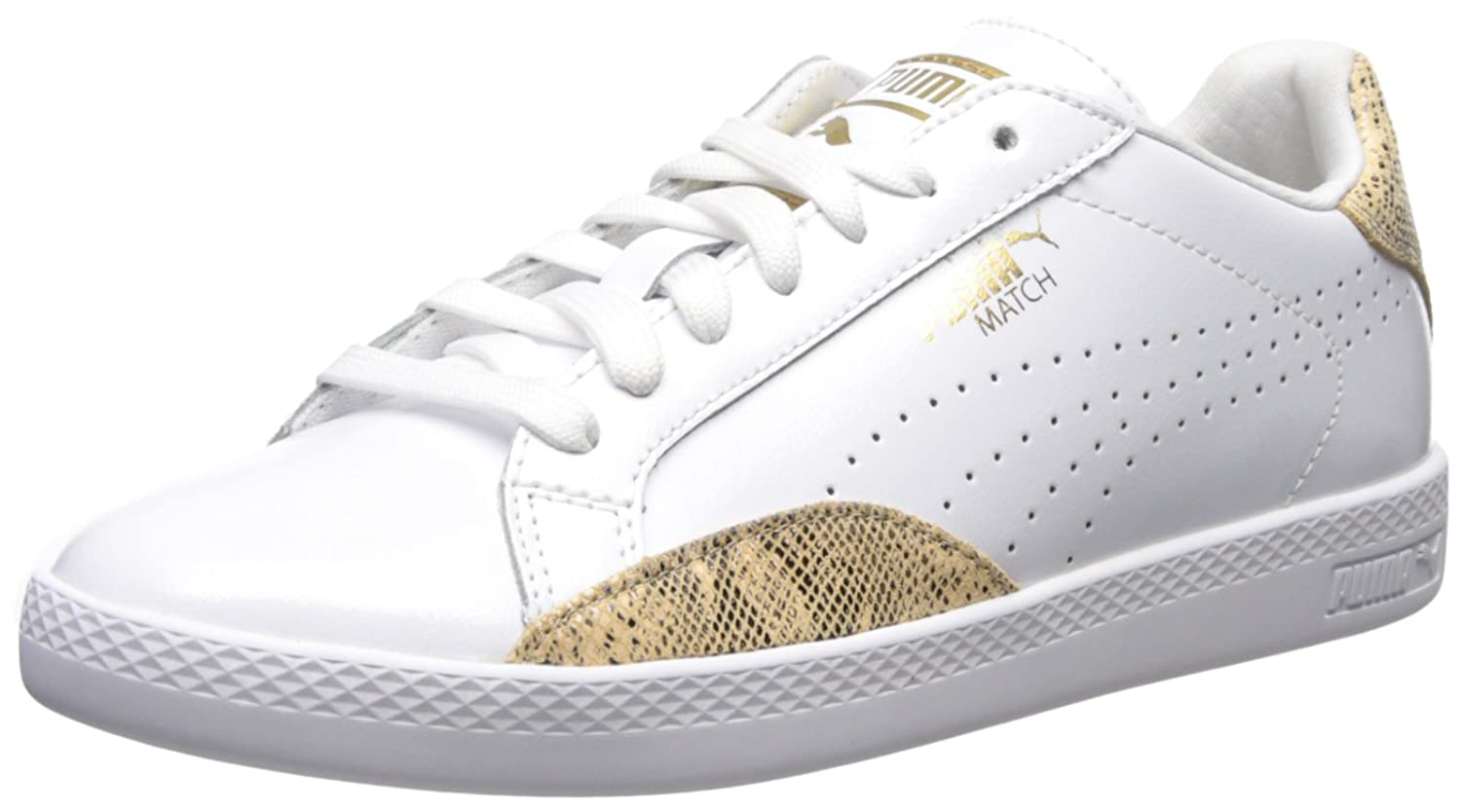 PUMA Women's Match Lo PNT Snake WN's Fashion Sneaker Puma White/Gold Size 8.5
