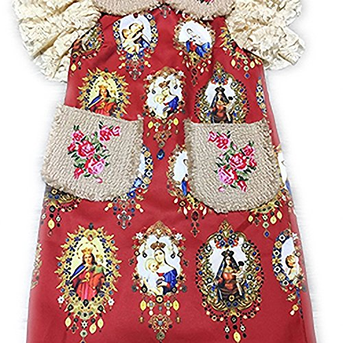 Venetia Morton Fashion Runway Designer Dress Women's Lace Sleeve Pockets Floral embroidery Character Printed Straight Dress Red - Outlets Knoxville