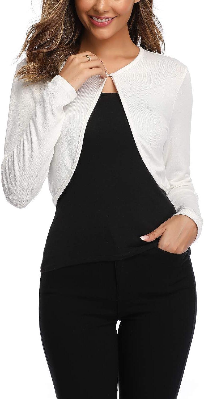 Evelife Donna Coprispalle Bolero Top da Bolero Basic Manica Lunga Elegante Comodo Aperto Leggero S-XXL