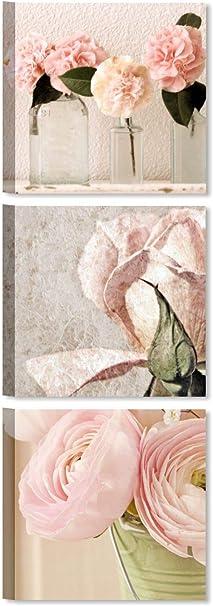 Quadri L C Italia Tris Rose Shabby Chic 2 Quadri Moderni Soggiorno Con Fiori Rosa Per Camera Da Letto Cucina Bagno 25 X 25 Quadretti Da Parete Stampa Su Tela Amazon It Casa E Cucina