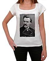 Friedrich Nietzsche, tee shirt femme, imprimé célébrité,Blanc, t shirt femme,cadeau