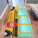 InterestPrint Home Contemporary School Bus Design Modern Runner Rug Carpet 10'x3'3''
