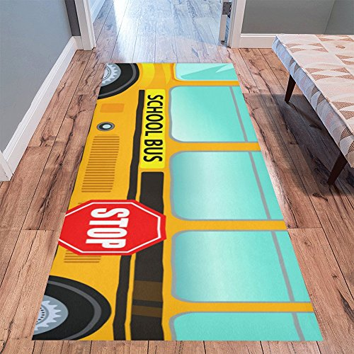 (InterestPrint Home Contemporary School Bus Design Modern Runner Rug Carpet 10'x3'3'')