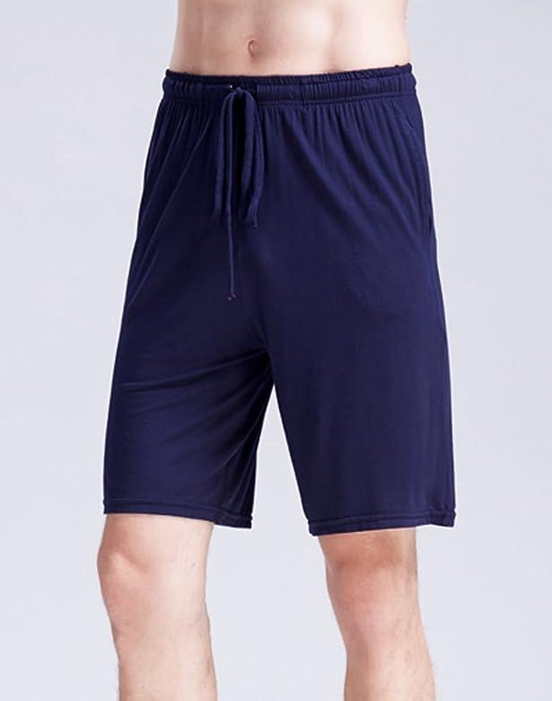 AIEOE - Pantalones Cortos de Pijama de Verano Fino Fresquito para Hombre Cintura Ajustable Elástica Talla Grande - Azul - L: Amazon.es: Ropa y accesorios