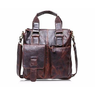 Naladoo Men's Vintage Buffalo Leather Handbag Laptop Briefcase Bag Crazy Vinta