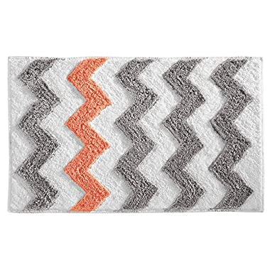 InterDesign Microfiber Chevron Rug, 34 by 21-Inch, Light Gray/Coral