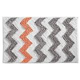 Hot Pink Chevron Shower Curtain InterDesign Microfiber Chevron Rug, 34 by 21-Inch, Light Gray/Coral