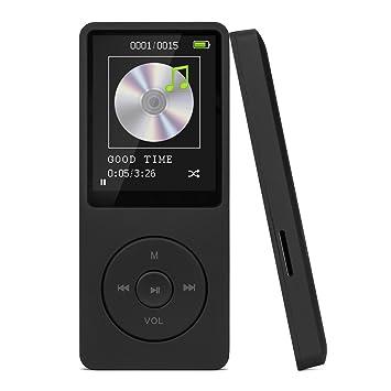 Reproductor de MP3, SAVFY 8GB MP3 Reproductor de Música 16-19 Horas de Trabajo y Soporte Hasta 32 GB de Tarjeta Micro SD para 4000 Canciones, Negro