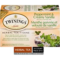 Twinings of London Peppermint and Creamy Vanilla Herbal Tea Bags, 20 Count (Pack of 6)
