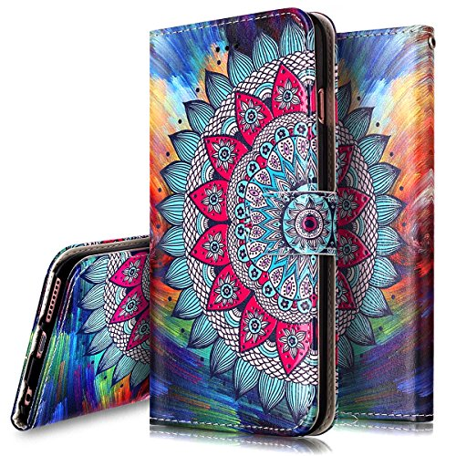 Iphone 6S Plus Case Iphone 6 6S Plus Wallet Case  Phezen Totem Henna Mandala Floral Design Pu Leather Wallet Case With Card Slots Stand Book Style Folio Flip Cover For Iphone 6 6S Plus 5 5   Mandala