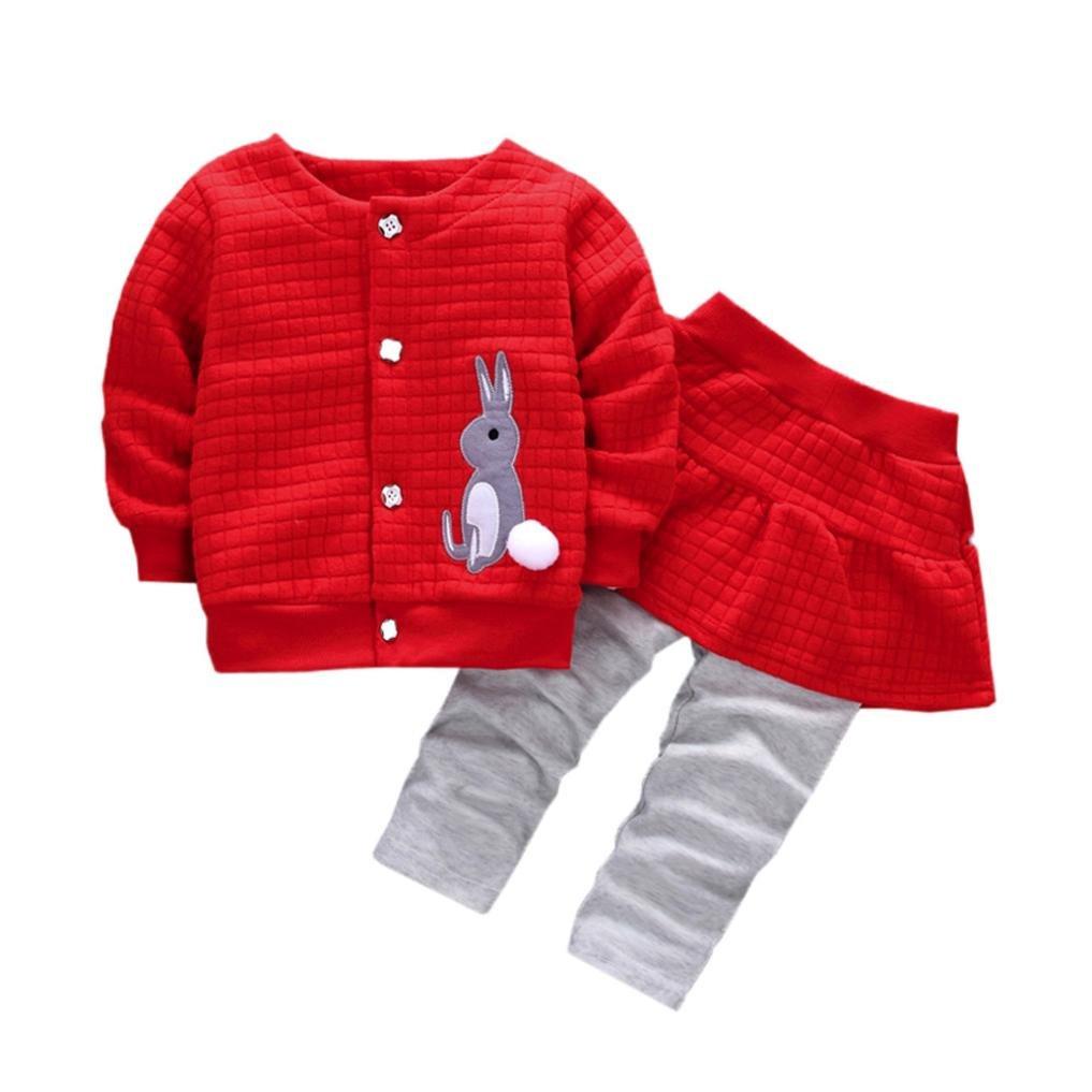 feiXIANG 2PCs Camicetta + Pantaloni 2pcs Neonato bambino bambine coniglio stampa cime cappotto + pantaloni abiti set, miscela del cotone