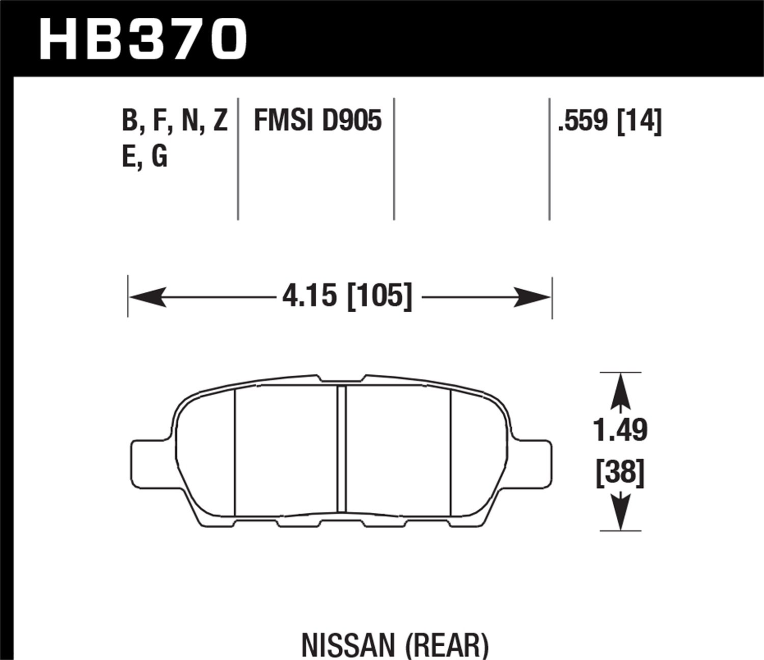Hawk Performance HB370Z.559 Performance Ceramic Brake Pad