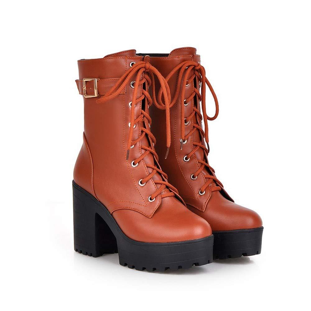 Botas, JiaMeng Botas de Mujer Zapatos Botines con tacón Grueso Botas Martin con tacón Alto Botas con Cordones y Bajos Gruesos: Amazon.es: Ropa y accesorios