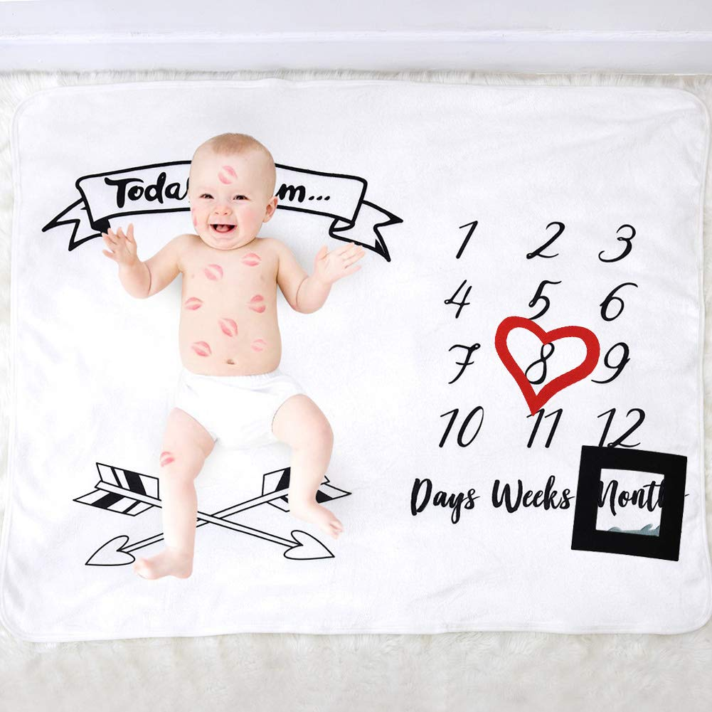 100cm Thick Fleece Swaddle /& Throw for Infant /& Babies 0-3 Months,Unique Baby Shower Gift for Newborn Boy /& Girl Photography Backdrop Photo Prop Use Baby Monthly Milestone Blanket,120