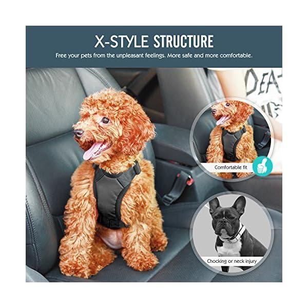 Pawaboo Dog Safety Vest Harness, Pet Dog Adjustable Car Safety Mesh Harness Travel Strap Vest with Car Seat Belt Lead Clip. 6