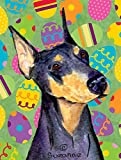 Caroline's Treasures SS4840CHF Doberman Easter Eggtravaganza Flag Canvas, Large, Multicolor