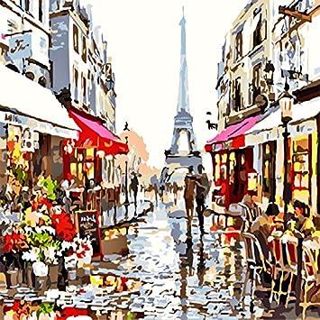 Lanlan Rahmenlose Paris Street Digital Ölgemälde Deko Bild DIY Hand Bemalt,  Dekoration, Um