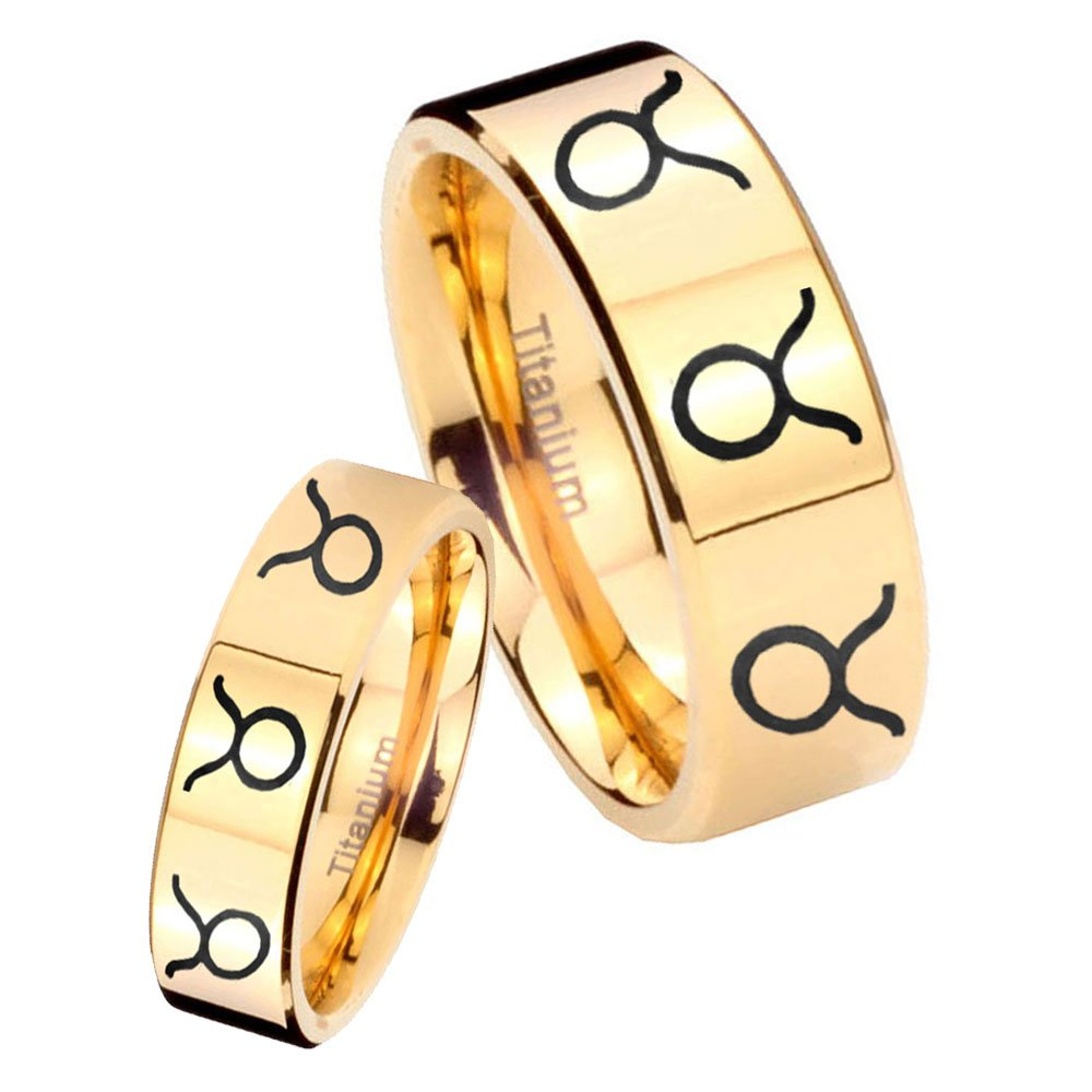 women and men Titanium 8 Taurus Horoscope Gold IP Pipe Cut Wedding Ring Set Size 6, 10