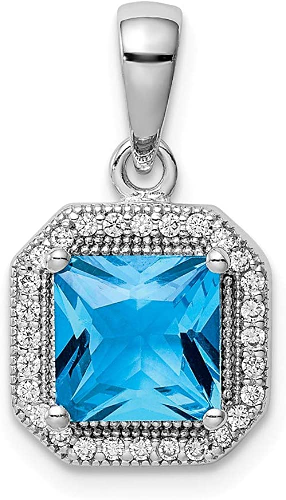 Sterling Silver Blue and Clear CZ Charm Pendant