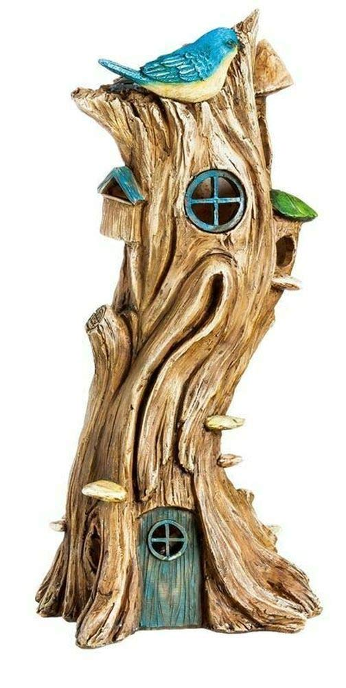 Mini Fairy Garden House - Miniature Fairy Garden Solar Tree House w/Bird
