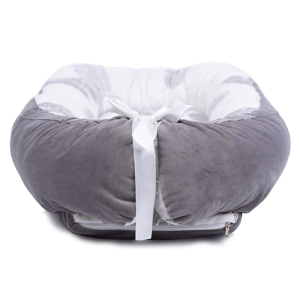 LOAOL Baby Lounger Newborn Co Sleeping Bassinet Reversible Portable Snuggle Infant Nest Bed Gray