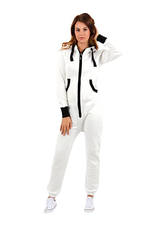 ef690119a1fa Parsa Fashions ® Womens Plain Zipper Onesie Ladies Onepiece All in One  Hooded Zip Up Overall Jumpsuit Playsuit S-XL 8-16: Amazon.co.uk: Clothing