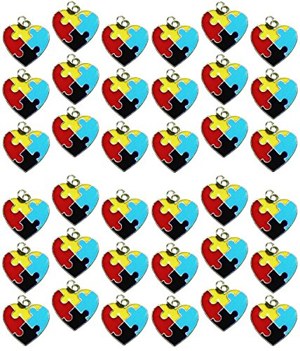 36 Autism Aspergers Awareness Puzzle Piece Heart Jewelry Charms Package of 36