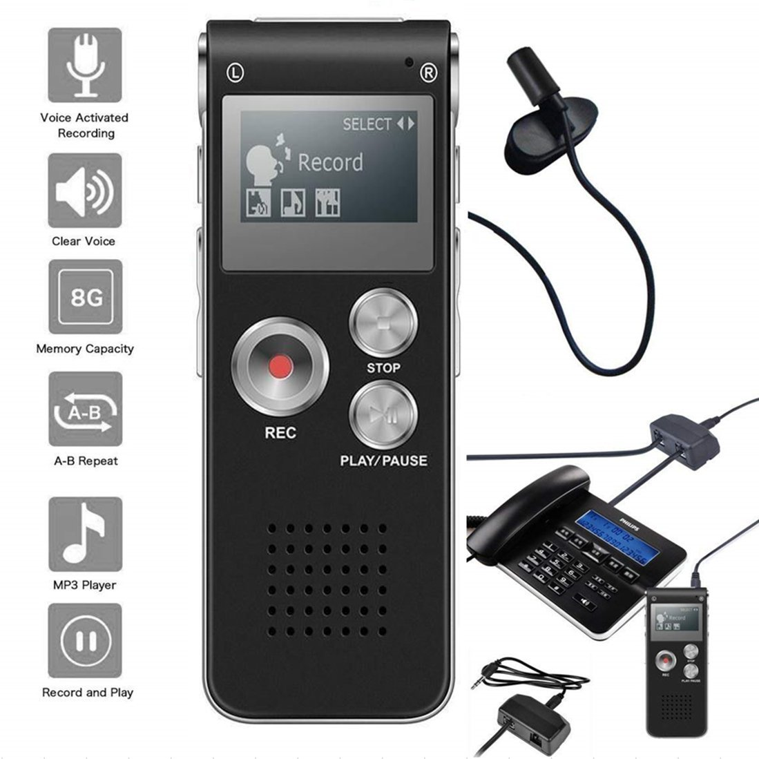 NeeGo Digital Voice Activated Recorder for Lectures 8GB with USB Light Weight Portable MP3 Player with Mic 3.5mm Microphone - Plus Telephone Pickup Cordless Phone Landline Recording Device Recorder