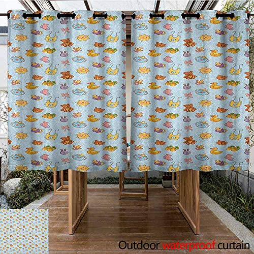 AndyTours Outdoor Grommet Window Curtain,Baby,Newborn Sun Teddy Bear Ribbon Feeder Pacifier Chick Kitty Cat Design,Simple Stylish,K160C115 Pale Blue Cinnamon Apricot ()