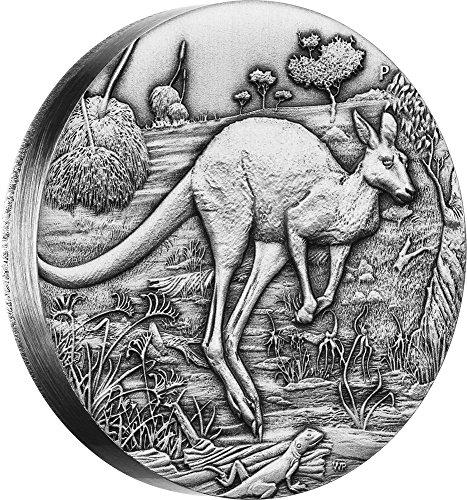 2016 AU Modern Commemorative PowerCoin AUSTRALIAN KANGAROO 2 Oz Silver Coin 2$ Australia 2016 Antique Finish