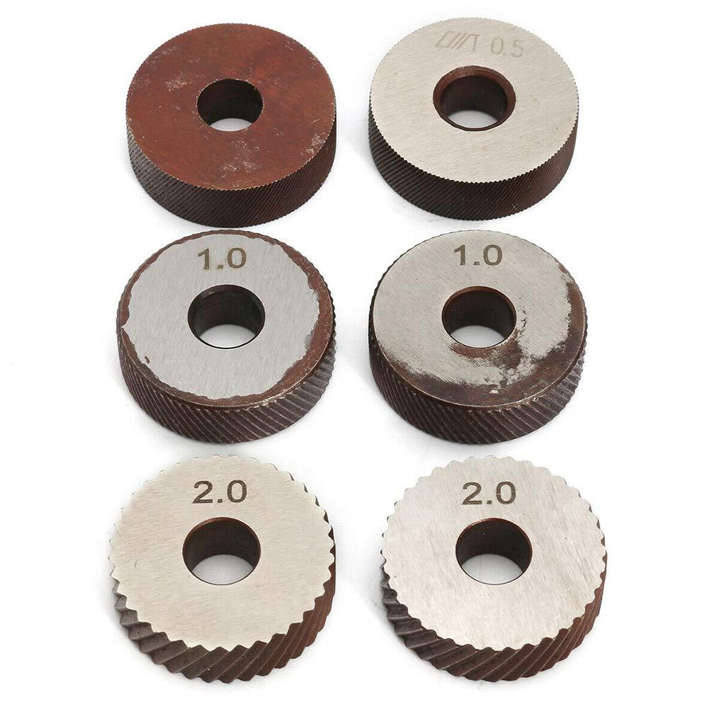 Verschlei/ßfestigkeit Stahl-Zweiradfr/äsmaschine R/ändel-Set hartes Werkzeug 7-tlg rotierender Kopf R/ändelwerkzeug-Set lineares