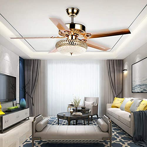 Tropicalfan Metal Led Ceiling Fan With Remote Control 1 Glass Light Cover Home Decoration Living Room Bedroom 5 Reversible Blades Quiet Fans Chandelier Rose Gold