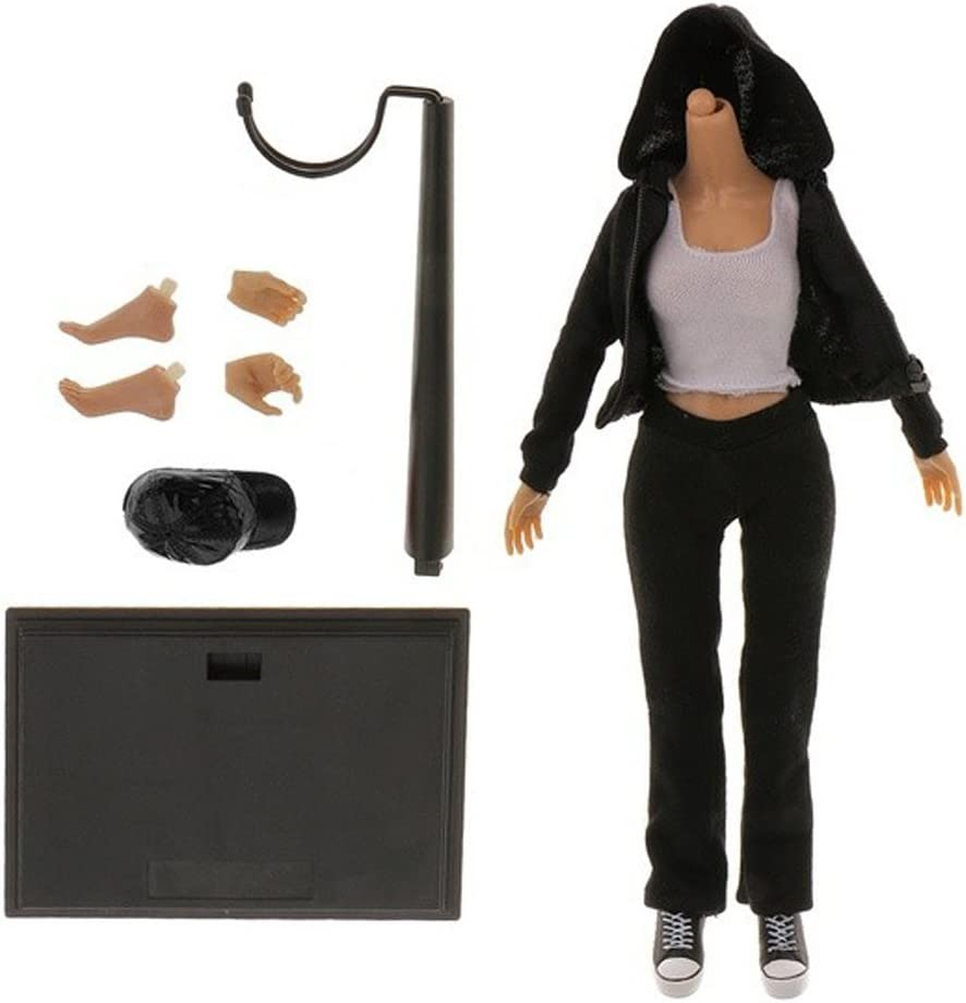 1//6 Women Female Action Figure with Black Hooded Jacket Pants Sneakers Accessories for Hot Toys Phicen Girls Head