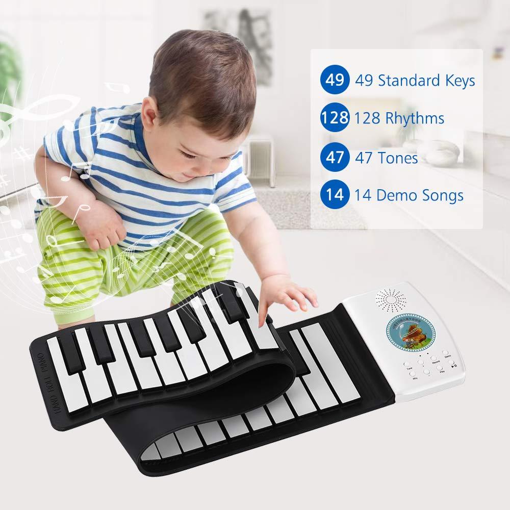 Kalaok Tastiera multifunzione a 49 tasti Tastiera digitale portatile con tastiera rullo per pianoforte integrato Batteria ad alta capacit/à integrata Tastiera per pianoforte elettrico per principianti