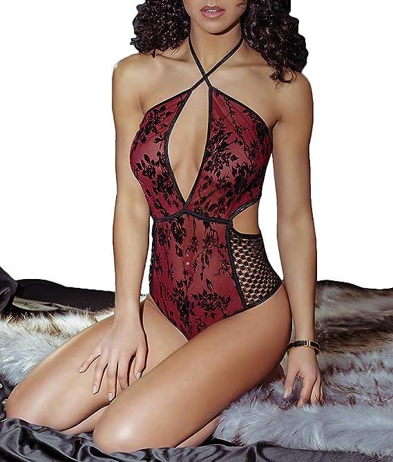 0caf355dea Amazon.com  Smoldering Rose Halter Teddy  Clothing