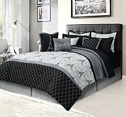 Amazon Com Howplumb Paris Queen Bedding Bed In A Bag 12 Piece Set With Sheets Eiffel Tower Black And Gray Home Kitchen