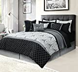 French King Size Bed HowPlumb Paris King Bedding Bed in a Bag 12 Piece Set with Sheets, Eiffel Tower Black and Gray