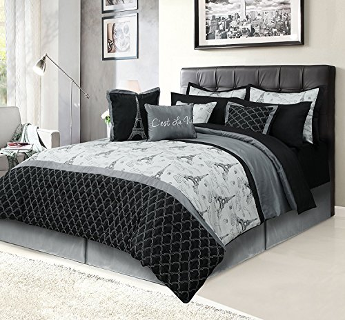 HowPlumb Paris Queen Bedding Bed in a Bag 12 Piece Set with Sheets, Eiffel Tower Black and Gray (Eiffel Tower Comforters)