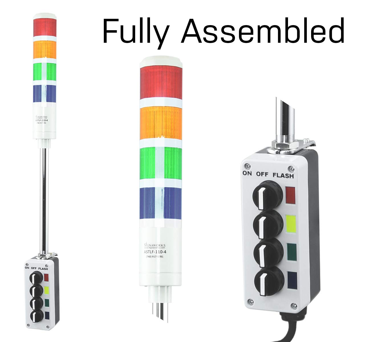 24VDC R//Y//G//B//W with Flashing Capabilities LED Andon Light American LED-gible LD-5225-101 LED Tower Light LED stacklight