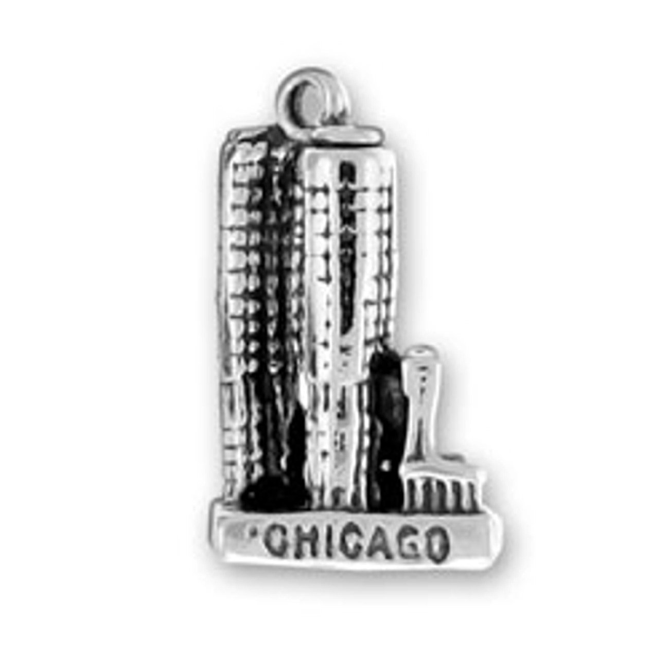 Sterling Silver 7 4.5mm Charm Bracelet With Attached 3D Chicago Marina City Charm