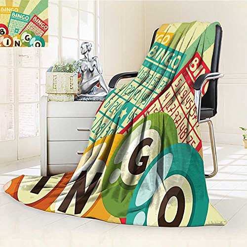 YOYI-HOME Fashion Designs Warm Duplex Printed Blanket Vintage Bingo Game with Ball and Cards Pop Art Stylized Lottery Hobby Celebration Theme Multi Sofa,Air-Conditioner Room /W47 x (Color Duplex 100 Card)