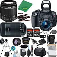 Canon Rebel T5i Camera + 18-55mm IS STM + 55-250mm STM + 2pcs 16GB Memory + Case + Memory Reader + Tripod + ZeeTech Starter Set + Wide Angle + Tele + Flash + Battery + Charger