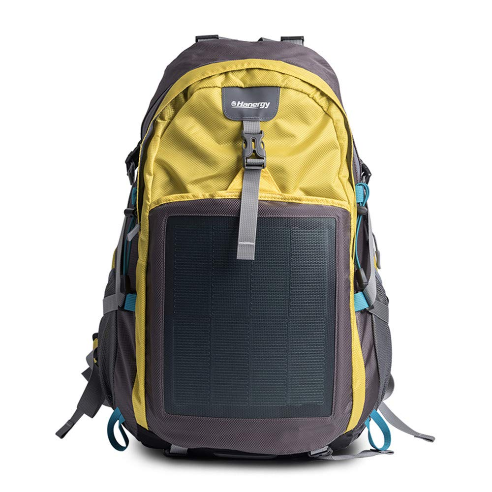 HANERGY Solar Charging Hiking Camping Backpack with Built-in 10.6W Solar Panels, Outdoors Emergency Solar Powered Charger Bag (Yellow)