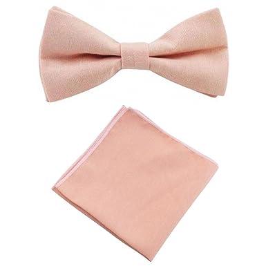 1c95f2e0ab64 Vintage Wedding Blush Pink Peach Cotton Bow Tie   Pocket Square Set ...