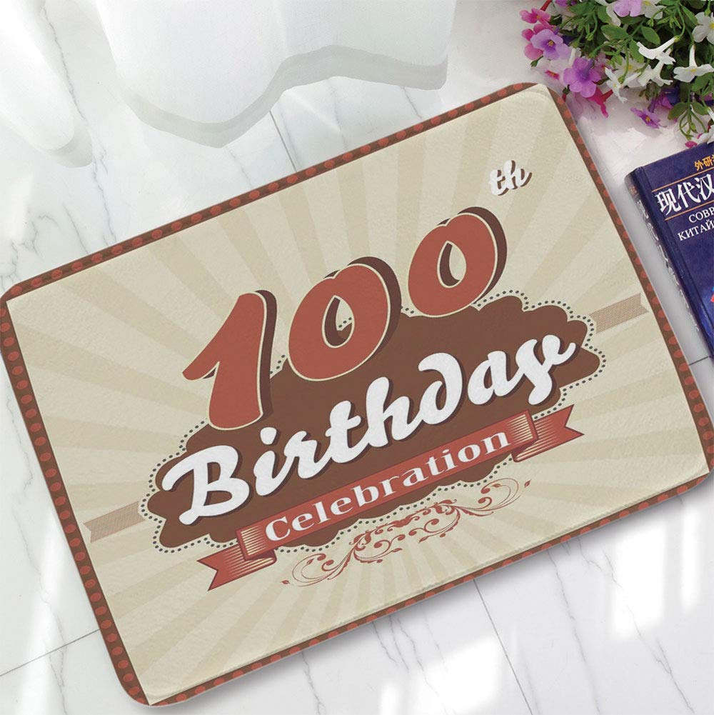 YOLIYANA Polyester Carpet,100th Birthday Decorations,for Meeting Room Dining Room,15.75''x23.62'',Chocolate Wrap Like Brown Party Invitation